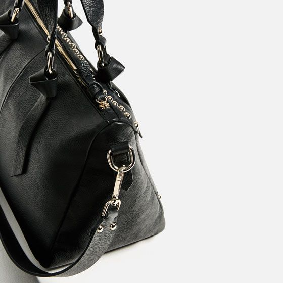 Image 4 of EMBROIDERED LEATHER BOWLING BAG from Zara