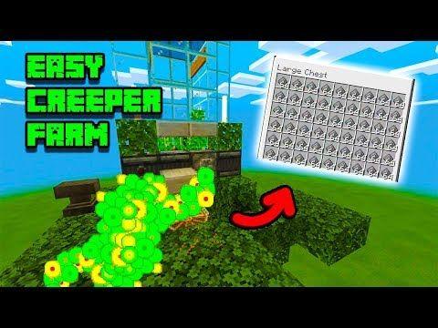 Minecraft Bedrock Easy Creeper Gunpowder Farm Ps4 Pc Xbox Switch Mcpe Ps3 Xbox 360 Youtube Minecraft Farm Minecraft Ps4 Amazing Minecraft