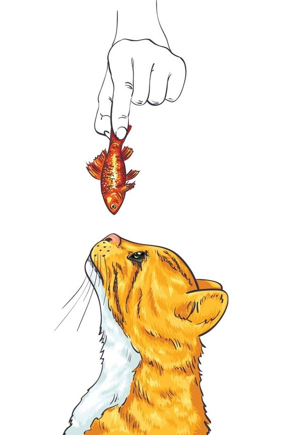 """""""Red Cat and Fish"""" by Oxana Kostromina"""