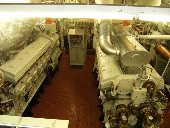 Looking at the engine room of the John Perves tug boat on tour in Sturgeon Bay, Wisconsin.