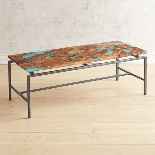 Moraine Wood Teal Resin Coffee Table Coffee Table Round Glass