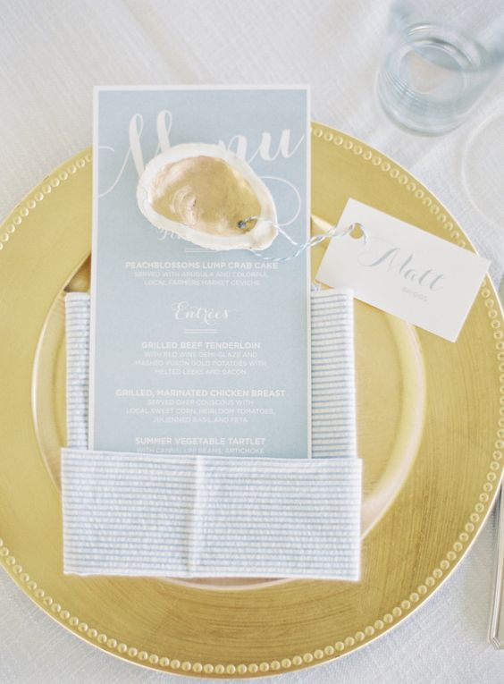 Invitations by Just Ink on Paper  oysters  by the sea  wedding themes  tablescape  Photography Michael and Carina Photography - wwwmichaelandcarinacom Invitations Just Ink On Paper - justinkonpapercom   Read More on SMP httpwwwstylemeprettycom20151012nautical-summer-wedding-in-maryland