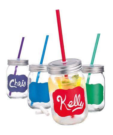 Look at this #zulilyfind! Chalk-It Mason Jar Mug Set by Home Essentials and Beyond #zulilyfinds