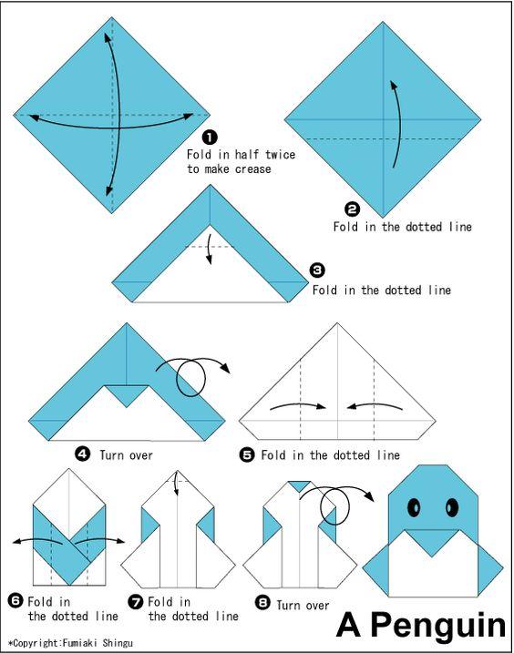 origami penguin instructions origami tangram kirigami pinterest billets en origami. Black Bedroom Furniture Sets. Home Design Ideas