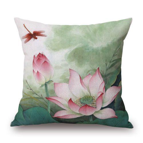 18 Home Cotton Linen Car Bed Sofa Lotus Flower Throw Pillow Case Square Cover Cojines Floreados Pintura En Tela Flores Pintar En Tela