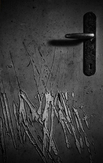 """""""Scratched"""" by Mighty Maik. Shot in an abandoned psychiatric hospital in the Netherlands. A door to one of the patient's room is pretty badly scratched by someone...or something... #asylum"""