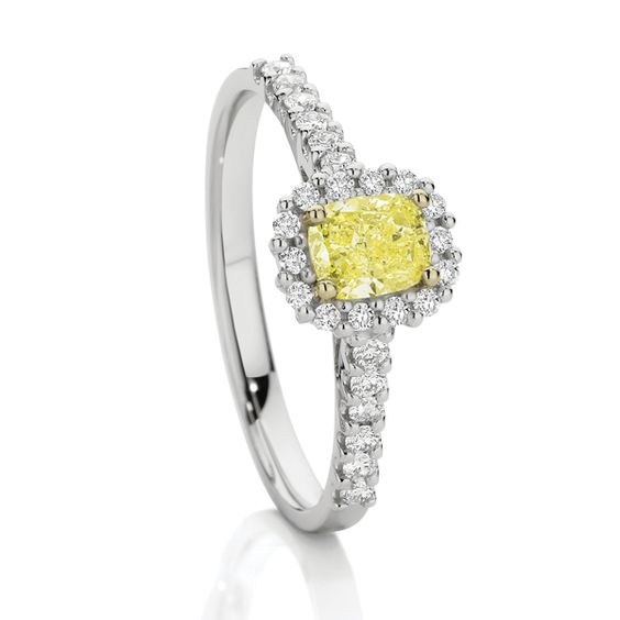 18ct White Gold Diamond Ring. Features Natural Yellow Cushion-Cut Diamond