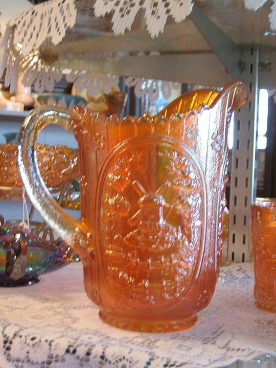 Carnival Glass Imperial Windmill Pitcher and Tumblers