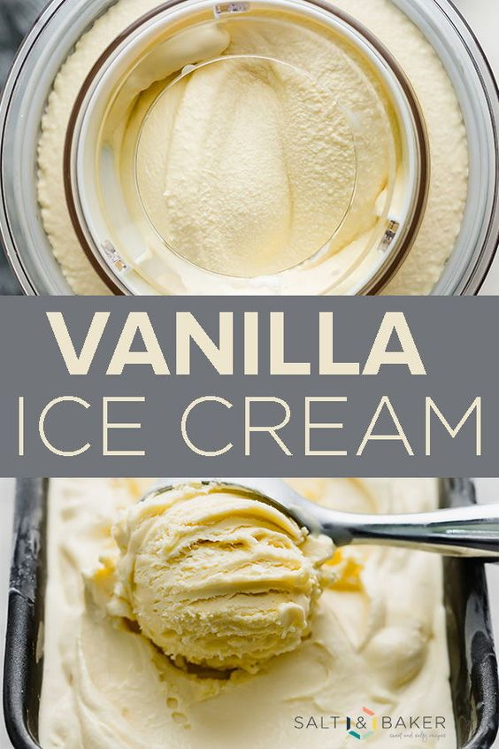 This vanilla ice cream recipe is really easy to make! It has a lot of delicious flavor, and it's a custard based ice cream recipe. This homemade vanilla ice cream is churned, making it extra creamy. #saltandbaker #icecream #vanilla #homemadeicecream #recipe #easy #dessert #frozendessert #custard