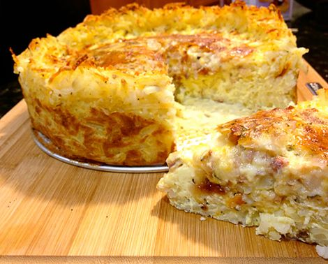Quiche with hash brown crust, try sweet potatoes, goat cheese, bacon ...