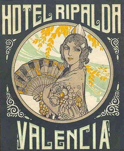 Vintage luggage labels hotel ripalda in valencia spain - Vintage valencia ...