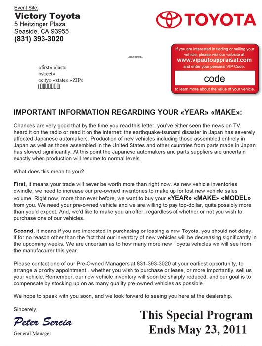 Toyota does a great job creating a sense of urgency in this direct - inter office communication letter