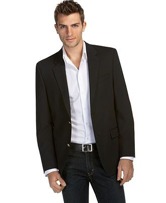 Alfani RED Jacket Black Wool Slim Fit Blazer - Mens Blazers