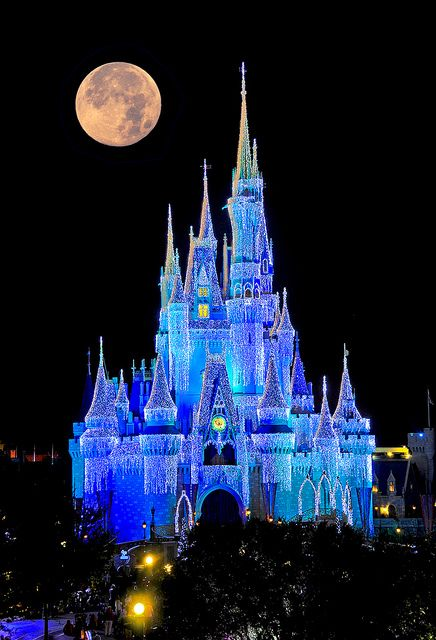 Cinderella's Castle at night during the holidays is a ...