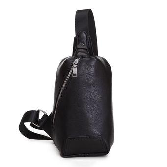 สินค้ายอดนิยม ราคาถูก 360DSC Stylish Men's Outdoor PU Leather Chest Sling Pack Bag Crossbody Bag Single Shoulder Bag - Black (Intl) สะดวก ปลอดภัย ได้รับสินค้าแน่นอน