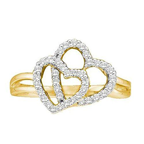 0.25 Carat (ctw) 14K Yellow Gold Round Cut Diamond Ladies Heart Fashion Engagement Promise Ring 1/4 CT. Crafted in 14K Yellow-gold. Diamond Color / Clarity : H-I / I1-I2. Diamond Weight : 0.25 ct tw. Weights approximately 2.521 grams. This Ring is best for Engagement.