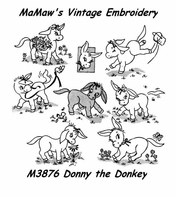 M302 Vintage Donkey Towel Embroidery Heat Iron On Transfer Pattern Donkeys Vintage And Embroidery