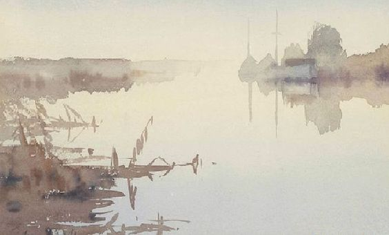 Edward Seago (1910 — 1974, UK) Misty Morning, River Thurne, Norfolk. watercolour.