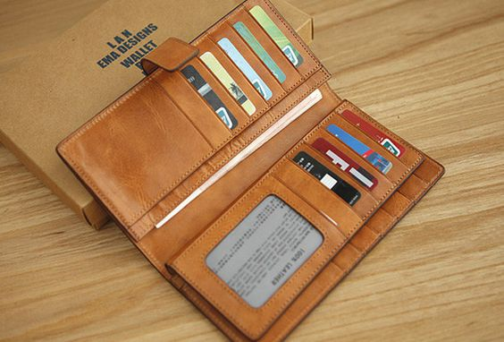 Handmade vintage leather clutch bag long wallet multi ID card ...