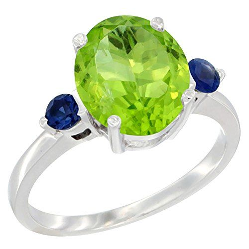 14K White Gold Natural Peridot Ring Oval 10x8mm Blue Sapphire Accent size 10 >>> Click image for more details.