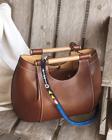 brown dowel leather round tote