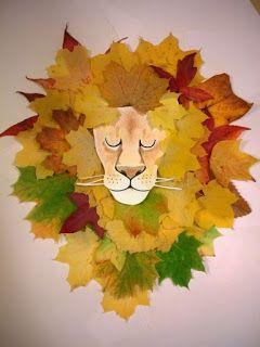Leeuw knutselen met bladeren