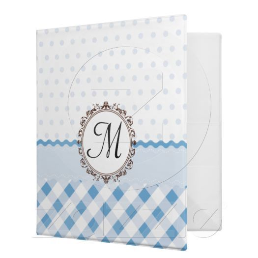 Blue Polkadots, Checks and Stripes with Monogram binders