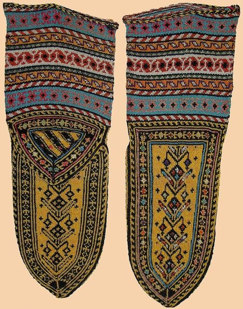 Stockings Antique Persian Silk Socks from kurdistan Qajar Dynasty 1795 -1925 A.D