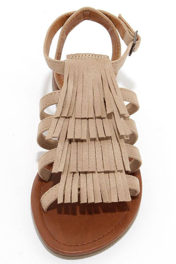 Mountain View Oat Suede Fringe Sandals at Lulus.com!