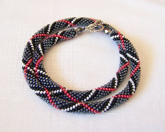 SALE - Beads crochet ropes necklace - Beadwork - Seed beads jewelry - Elegant - grey, black, white and red