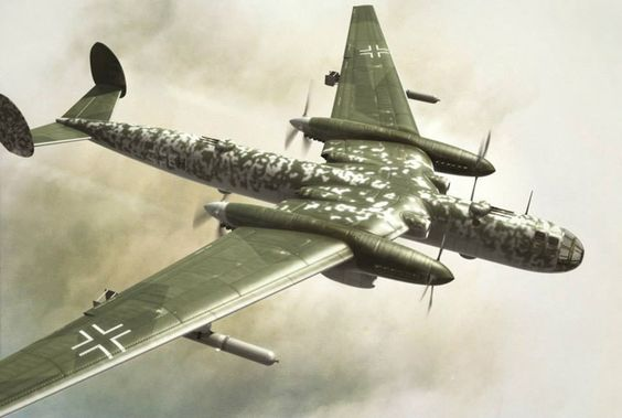 """ONE OF THE VARIATIONS OF ME-264 PROJECT - THIS ONE WAS NEVER BUILT Messerschmitt Me 264 – """"Amerika"""" Bomber, 1942 The Messerschmitt Me 264 was designed from the beginning as part of the """"Amerika bomber"""" project. It's goal was to be able to carry a small load to the United States but also to support U-boat operations far into the Atlantic. http://rarehistoricalphotos.com/messerschmitt-264-objective-able-strike-continental-usa-germany-1942/"""