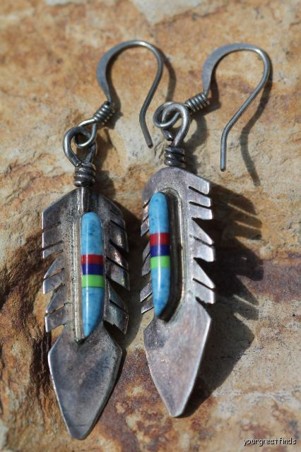 Vintage Southwestern Navajo Style Sterling & Turquoise Feather Pierced Earrings via Etsy
