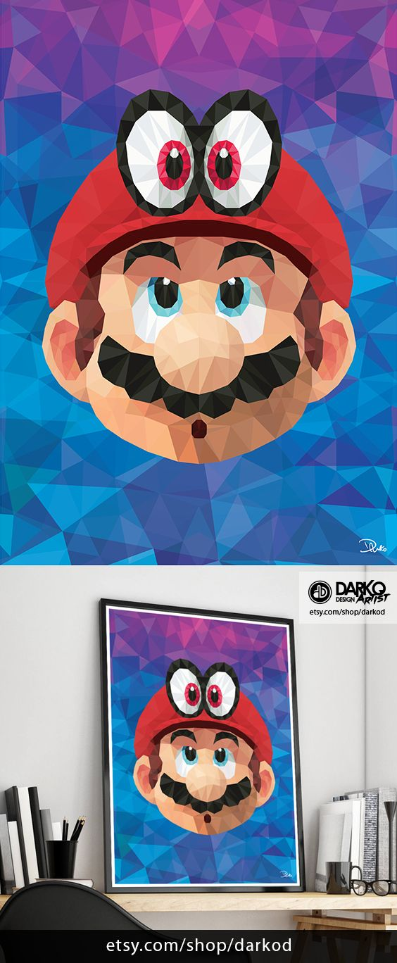 Super Mario Odyssey Mario Cappy Poly Signed Video Game Wall