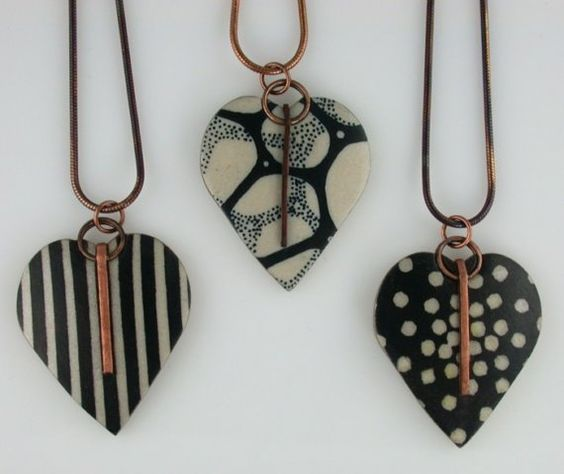 Heart pendant  black and white symmetry by LouiseFischerCozzi, $70.00