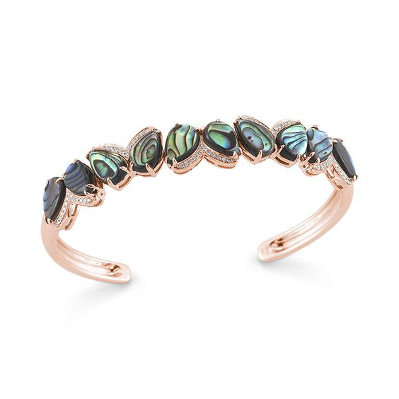 LINDSAY ALLISON: Abalone and Diamond Cuff Bracelet