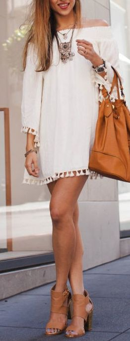 Marrakesh Cream Off-the-Shoulder Dress