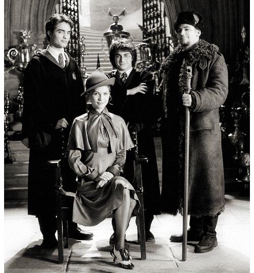 Tournoi des Trois Sorciers 1995-1995. Cedric Diggory, Fleur Delacour, Harry Potter & Viktor Krum.