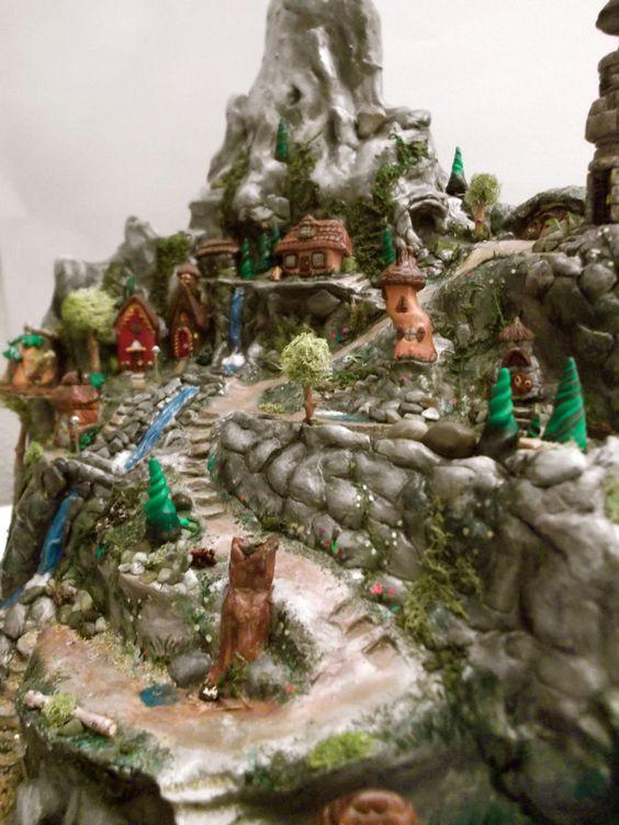 Fairytale Miniatures- Mountain Village. $700.00, via Etsy.: Garden Fairies Gnomes, Garden Ideas, Dollhouses Scaled, House Ideas, Fairy House, Mini Garden, Fairy Gardens, Fairytale Miniatures