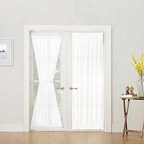 French Door Curtain Panel Linen Look 72 Inch Sheer White Tieback