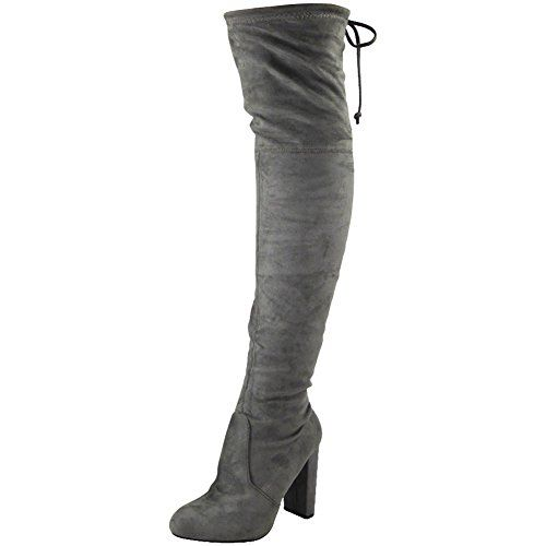 WOMENS LADIES THIGH HIGH BOOTS OVER THE KNEE PARTY STRETC…: