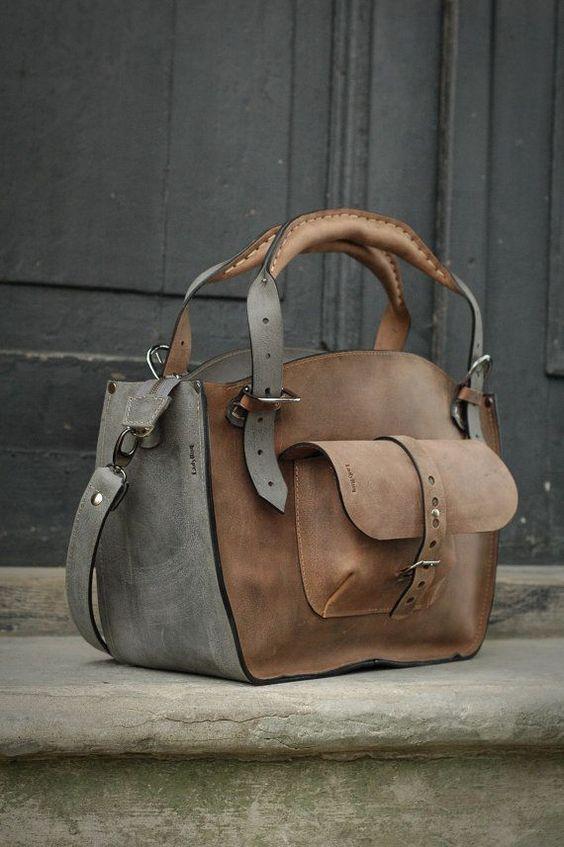 Leather+Shoulder+Bag+with+Clutch+Set+handmade+bag+by+ladybuq