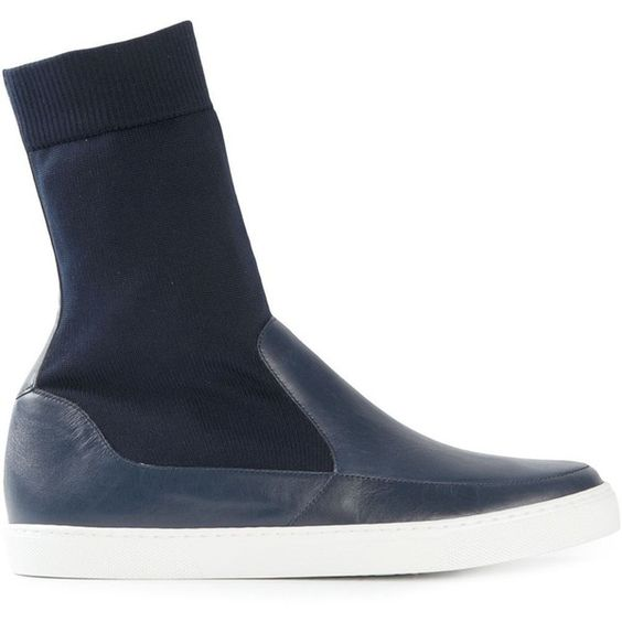 Jil Sander Navy Sock Insert Sneakers (£220) ❤ liked on Polyvore featuring shoes, sneakers, blue, jil sander navy shoes, real leather shoes, blue leather shoes, blue shoes and blue sneakers