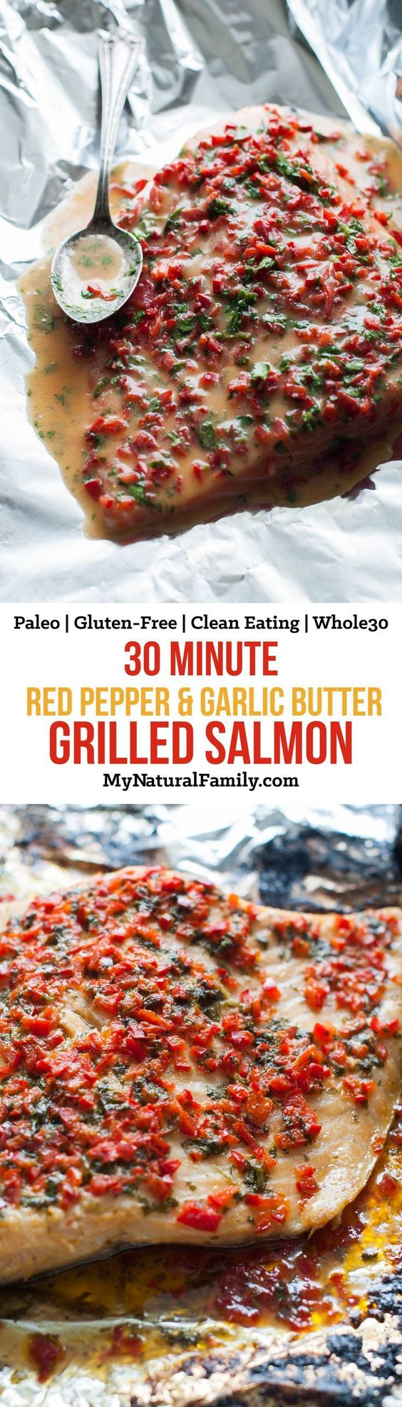 30 Minute Red Pepper and Garlic Butter Foil-Grilled Salmon Recipe {Paleo, Gluten-Free, Clean Eating, Whole30} - I love how this is really fast to make and tastes so good from the sauce and steaming in the tin foil. I love how the foils keeps the salmon from breaking apart and falling in the grill. Plus, clean up is as simple as throwing the tin foil away.