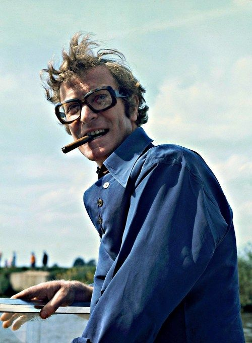 Michael Caine goes boating, 1970.
