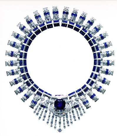 """""""Necklace of platinum, sapphires, and diamonds, by Cartier and De Sedles, 1936 - 1937."""""""