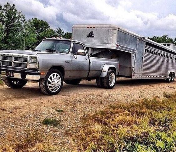 Gorgeous silver 1st gen ram with live stock hauler needs stock rims again