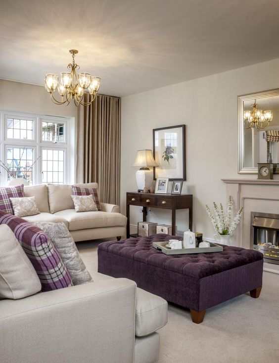 This balmoral showhome represents our heritage colour - Beige and purple living room ...