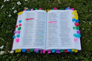 This is AMAZING!  All the things you work on to train your children tabbed and highlighted with a key in the front.  Training topics include: anger,   complaining, lying, laziness, THE GOSPEL!  So when you need the   verses you can grab the actual Bible and be able to quickly flip to whatever you need!!   Can't wait to do this!!