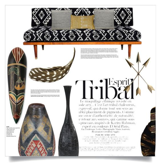 """Tribal Decor"" by orietta-rose ❤ liked on Polyvore featuring interior, interiors, interior design, home, home decor, interior decorating, ESPRIT, Thro, NOVICA and tribaldecor"