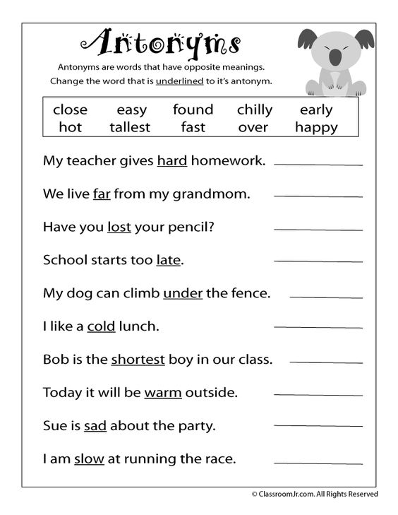 Printables Free Antonym Worksheets language nuest jr and homework on pinterest free reading worksheets antonyms
